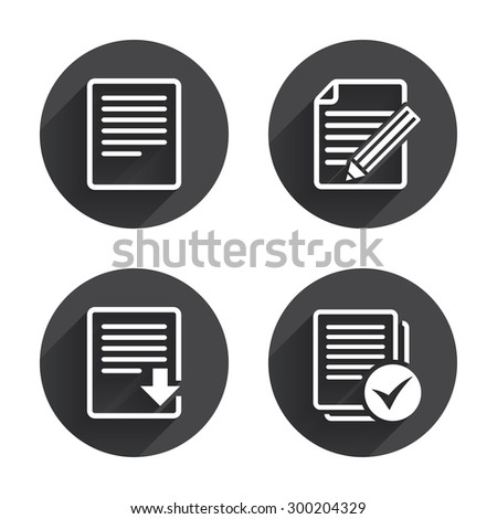 File document icons. Download file symbol. Edit content with pencil sign. Select file with check box. Circles buttons with long flat shadow. Vector - stock vector