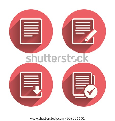 File document icons. Download file symbol. Edit content with pencil sign. Select file with checkbox. Pink circles flat buttons with shadow. Vector - stock vector
