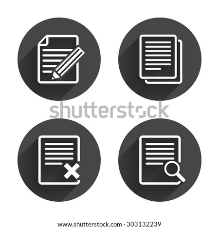 File document icons. Search or find symbol. Edit content with pencil sign. Remove or delete file. Circles buttons with long flat shadow. Vector - stock vector