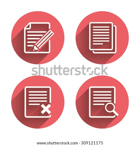 File document icons. Search or find symbol. Edit content with pencil sign. Remove or delete file. Pink circles flat buttons with shadow. Vector - stock vector