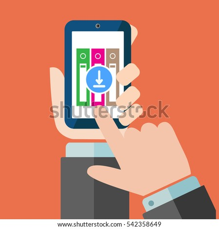 File download button on smartphone screen. Hand holds smartphone, finger touches button. Downloading document concept for web banners, , info graphics. Creative flat design vector illustration