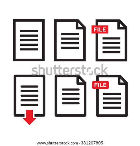 File download icon. Document text, symbol web format information - stock vector