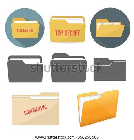 File folder icons - stock vector
