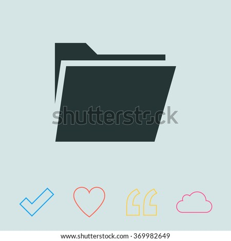 File folder vector icon. - stock vector