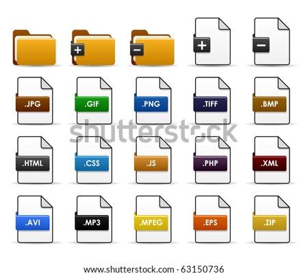 File Folder Web Icon Design - stock vector