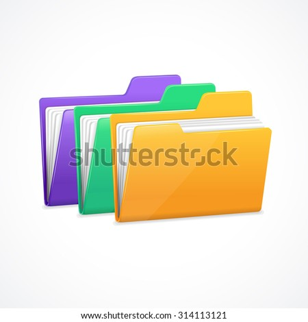 File Folders Set. Filing and archiving data. Vector illustration