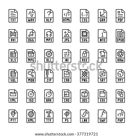 File format extensions vector icons - stock vector