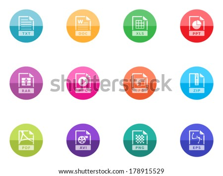 File format icon series in color circles.  - stock vector
