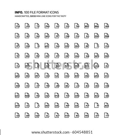 file formats mini line illustrations icons stock vector royalty