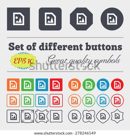 File JPG  icon sign Big set of colorful, diverse, high-quality buttons. Vector illustration - stock vector