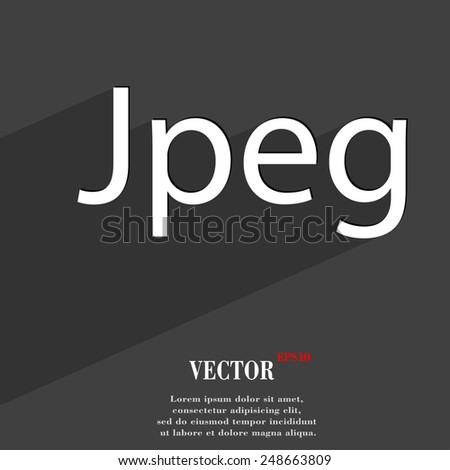 File JPG icon symbol Flat modern web design with long shadow and space for your text. Vector illustration - stock vector