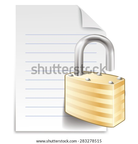 File lock concept  icon, paper sheet with padlock isolated on white background - stock vector