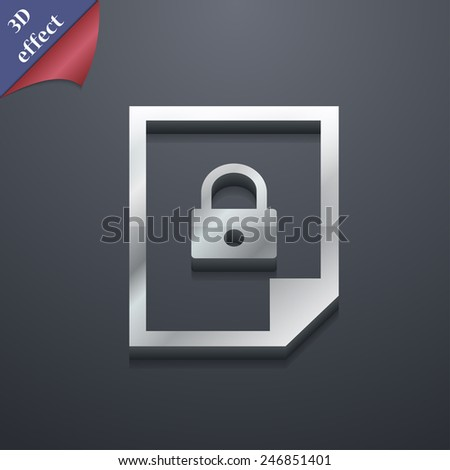 file locked icon symbol. 3D style. Trendy, modern design with space for your text Vector illustration - stock vector