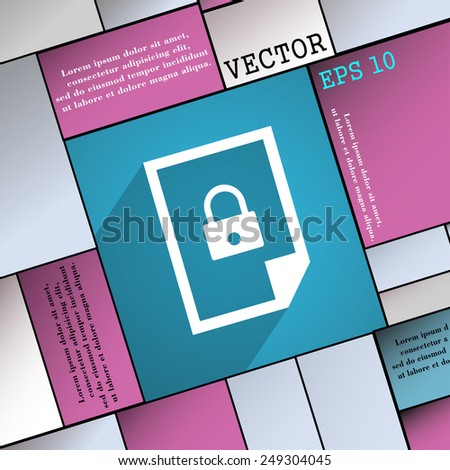 file locked icon symbol Flat modern web design with long shadow and space for your text. Vector illustration - stock vector