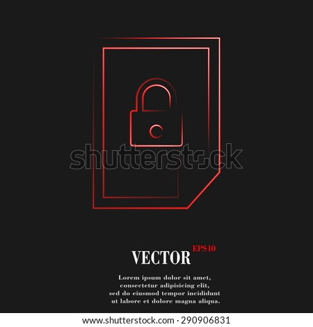 file locked icon symbol with effect of red neon. Vector illustration - stock vector