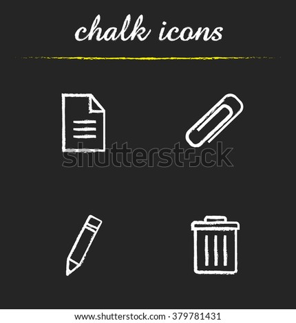 File manager chalk icons set. New text document, attachment clip, pencil edit symbol and trash bin. File manager app interface elements icons. White illustrations on blackboard. Vector logo concepts - stock vector