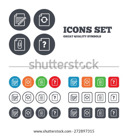 File refresh icons. Question help and pencil edit symbols. Paper clip attach sign. Web buttons set. Circles and squares templates. Vector - stock vector