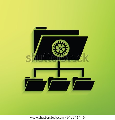 File share on green background,clean vector - stock vector