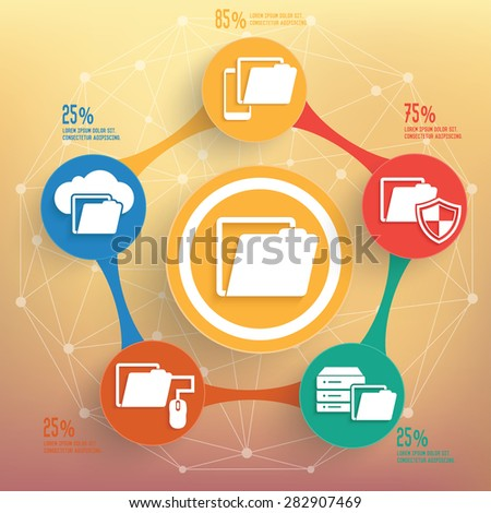 File sharing info graphic design, Business concept design. Clean vector. - stock vector