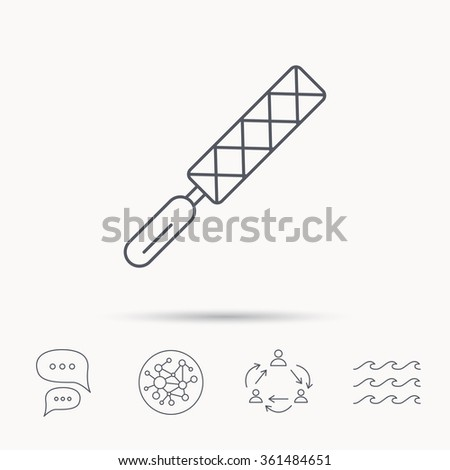 File tool icon. Carpenter equipment sign. Global connect network, ocean wave and chat dialog icons. Teamwork symbol. - stock vector