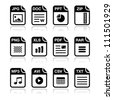 File type black icons with shadow set - zip, pdf, jpg, doc - stock vector