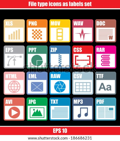 File type icons as labels set  - stock vector