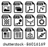 File type icons: graphic design set. All white areas are cut away from icons and black areas merged. - stock vector