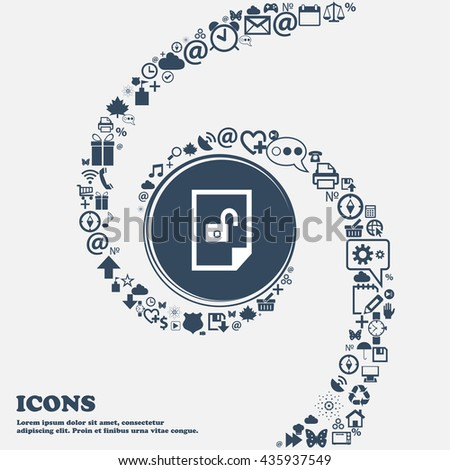 File unlocked icon sign in the center. Around the many beautiful symbols twisted in a spiral. You can use each separately for your design. Vector illustration - stock vector
