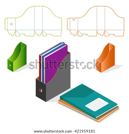 Files, folders, paper stack, storage boxes, isometric set,  DIY die-stamping container package - stock vector