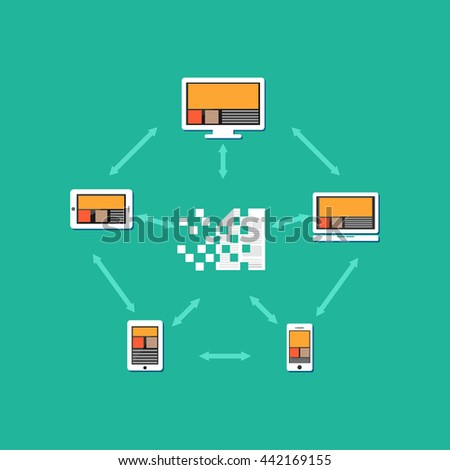Files or documents transferring between each other. Document distribution. File sharing concept illustration. - stock vector