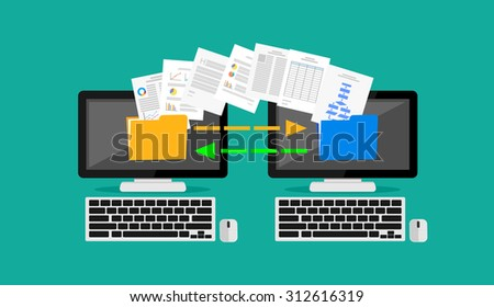Files transfer. Copying files. Concept illustration.  - stock vector