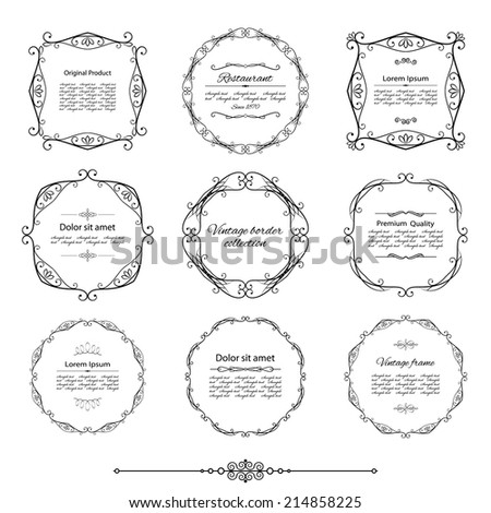 Filigree frame set isolated on white. Calligraphic design elements. - stock vector