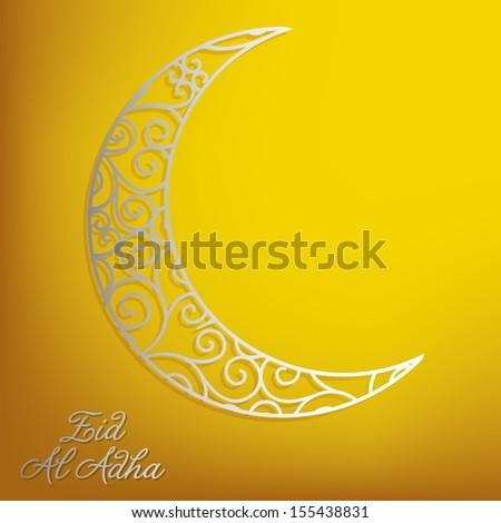 Filigree lace moon Eid Al Adha card in vector format. - stock vector