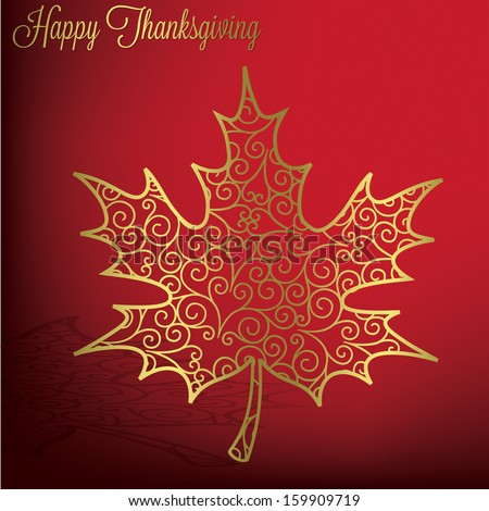 Filigree maple leaf Thanksgiving card in vector format. - stock vector