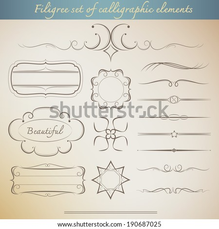 Filigree set of calligraphic elements for vintage design. beautiful Vector illustration - stock vector