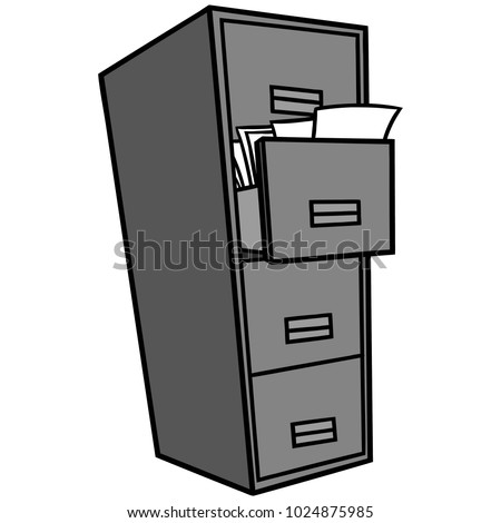 filing cabinet illustration vector cartoon illustration stock vector