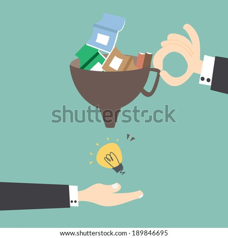 Fill knowledge to get idea - stock vector