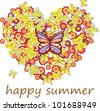 Filled Heart formed by Butterflies and Flowers - stock