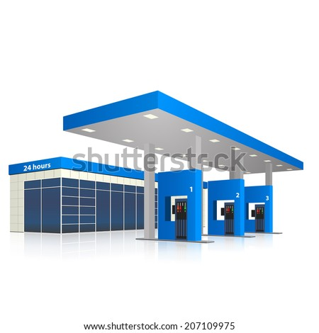 filling station with a small shop and reflection in perspective - stock vector