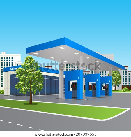 filling station with a small shop and reflection in perspective over city street background - stock vector