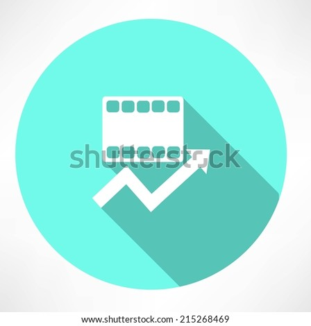 film and arrow icon - stock vector