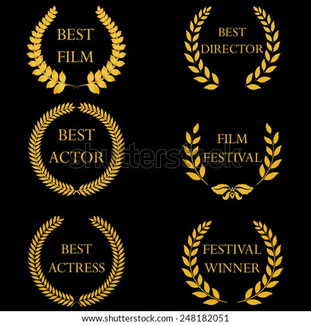 Film awards and nominations, festival winners. Golden laurel wreaths on black background. Vector illustration, fully editable, you can change form and color - stock vector