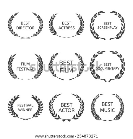 Film Awards, award wreaths on black background vector - stock vector