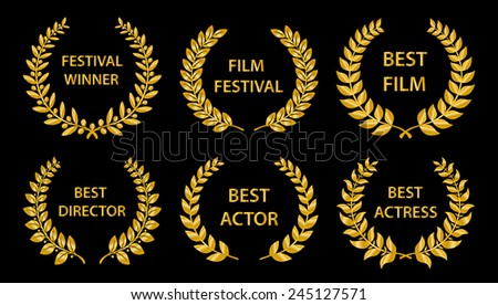 Film Awards. Gold award wreaths on black background. Vector illustration. - stock vector