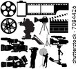 film, camera and equipments vector - stock vector