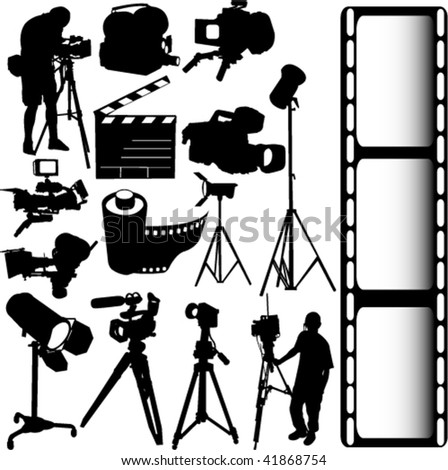 film, camera and equipments vector - stock vector