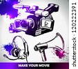 film, camera and equipments vector set . make your movie - stock vector