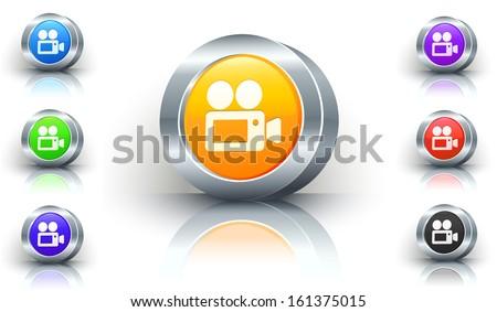 Film Camera Color Button Set - stock vector