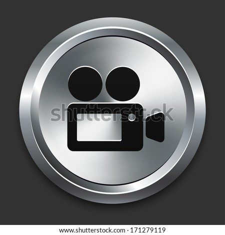 Film Camera Icon on Metallic Button Collection - stock vector