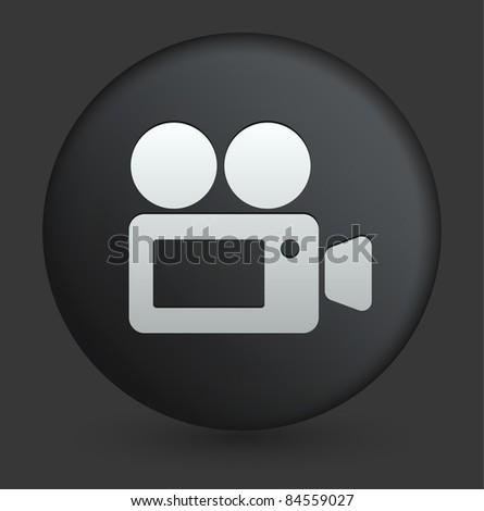Film Camera Icon on Round Black Button Collection Original Illustration - stock vector